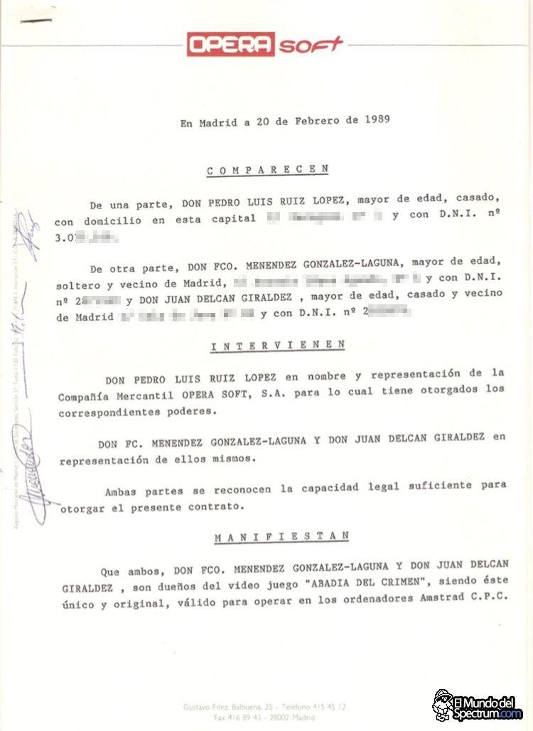 Contrato original de cesión de derechos de La Abadía del Crimen